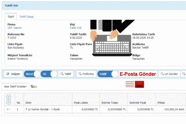 nicheCRM Teklifi E-Posta Gönderimi